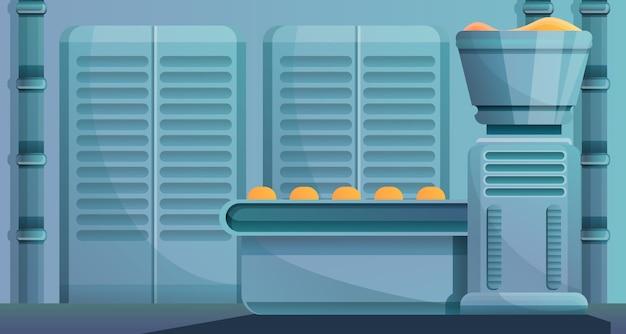 Bäckereifabriklinie konzeptillustration, karikaturart Premium Vektoren