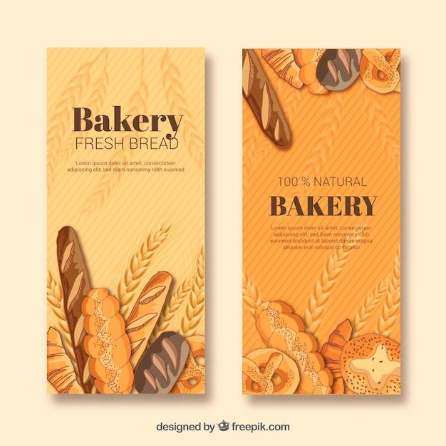 Bäckereifahnen mit gebäck und brot Kostenlosen Vektoren