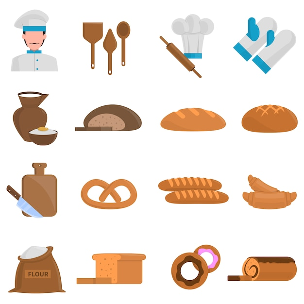 Bäckereiikonen eingestellt Kostenlosen Vektoren