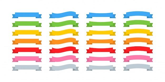Bänder banner. bandbannersammlung, isoliert. bänder banner ikonen regenbogenfarbe. illustration Premium Vektoren