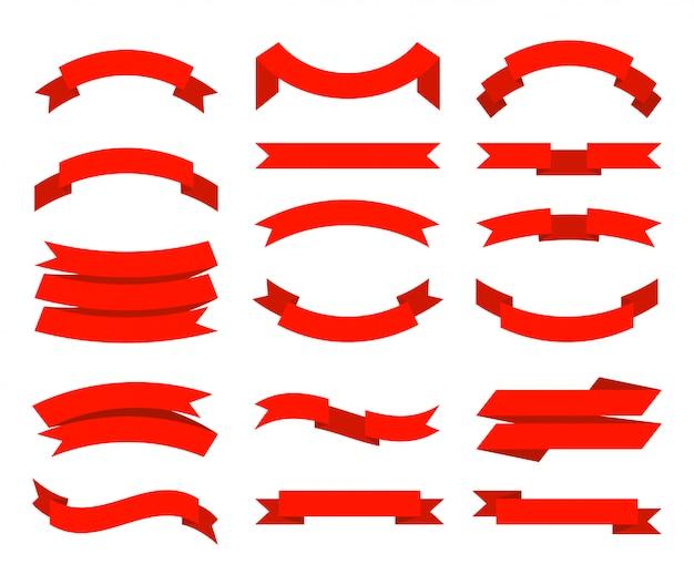 Bänder. banner tape collection premium rote bänder verschiedene formen sammlung Premium Vektoren