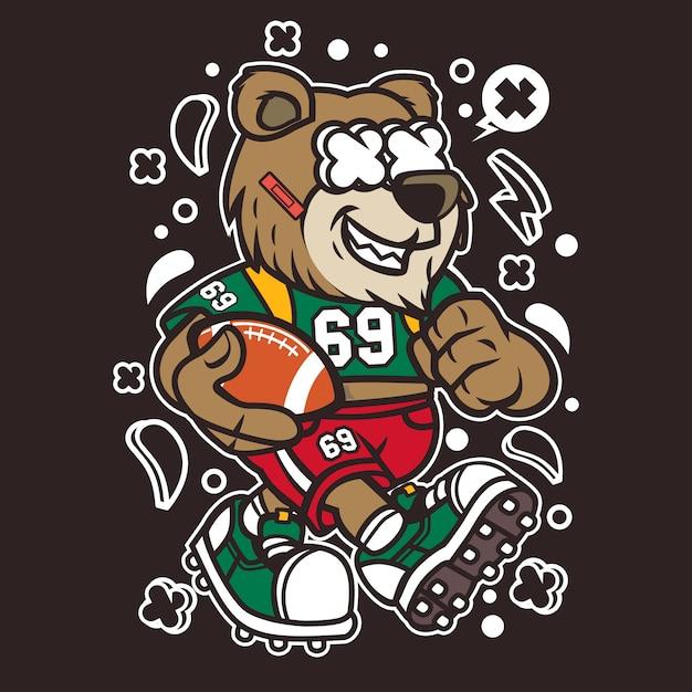 Bär fußballspieler cartoon Premium Vektoren