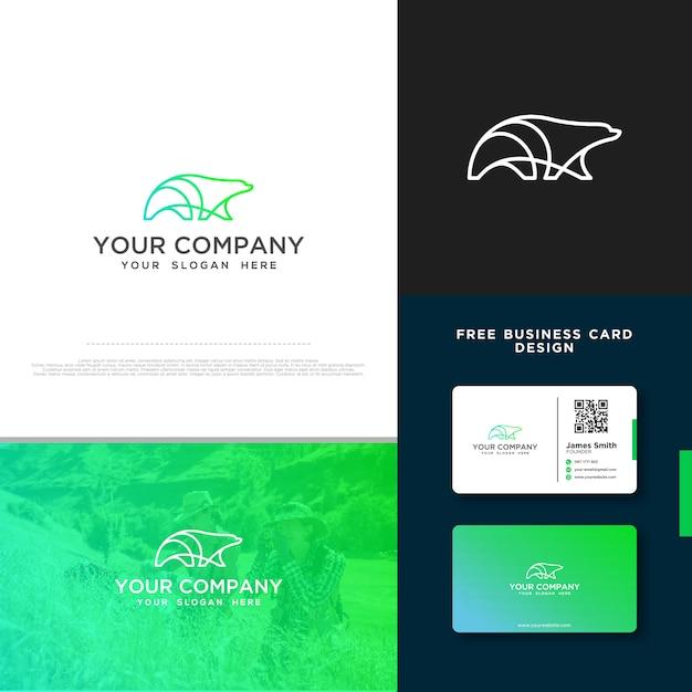 Bär-logo mit gratis-visitenkarte Premium Vektoren