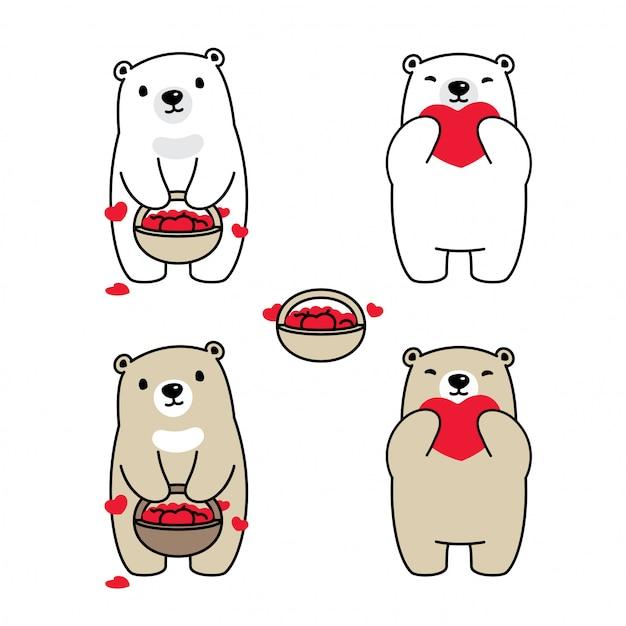 Bär polar herz korb cartoon Premium Vektoren
