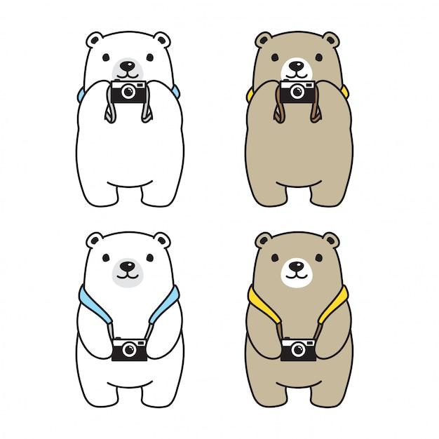 Bär polar kamera fotograf cartoon Premium Vektoren
