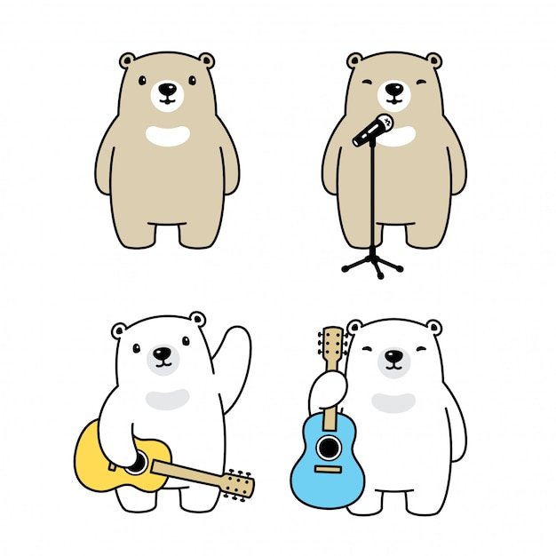Bär polar sänger gitarre musik cartoon Premium Vektoren