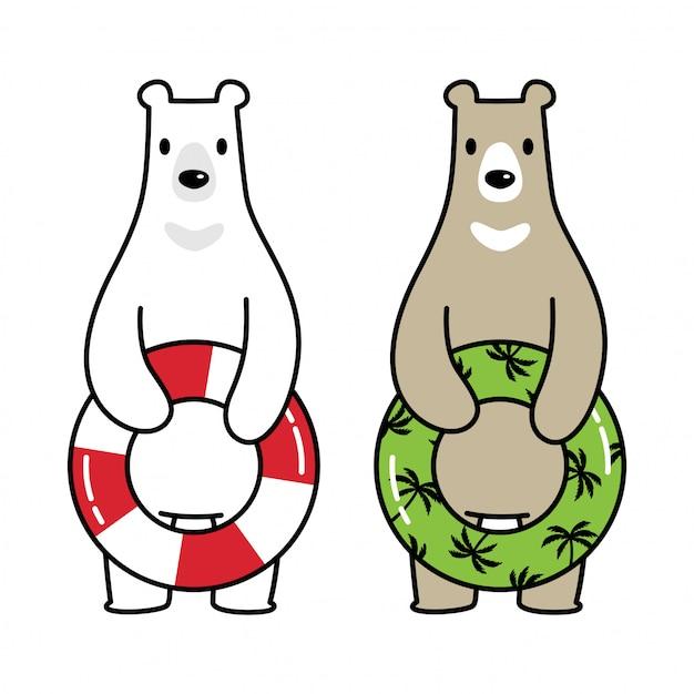 Bär polar schwimmbad ring cartoon Premium Vektoren
