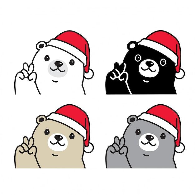 Bär polar weihnachten santa claus hut cartoon Premium Vektoren