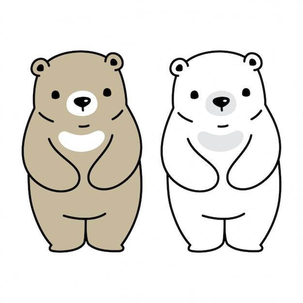 Bär polar zeichen cartoon illustration Premium Vektoren