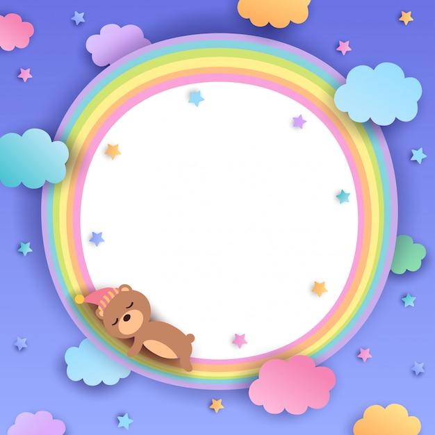 Bär-regenbogen-rahmen Premium Vektoren