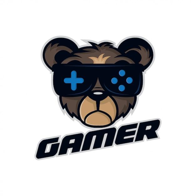Bär sport illustration für gamer-logo. Premium Vektoren