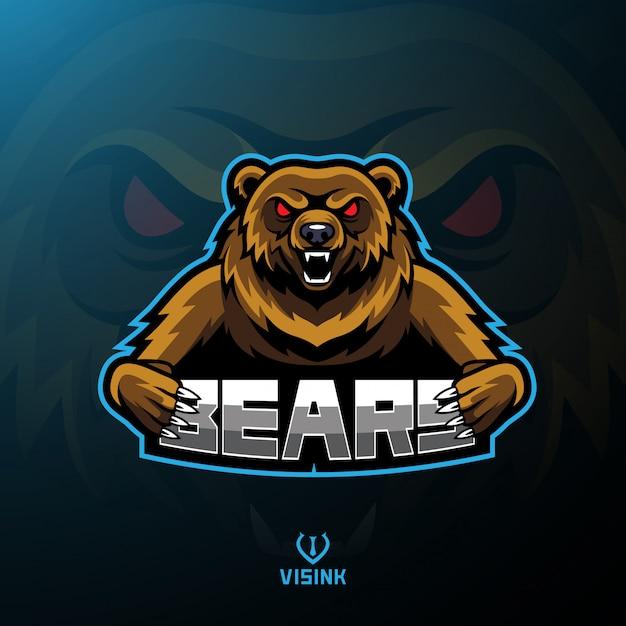Bär sport maskottchen logo design Premium Vektoren