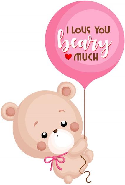 Bär und ballon Premium Vektoren