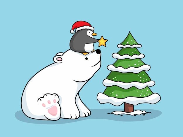 Bär und pinguin cartoon frohe weihnachten Premium Vektoren