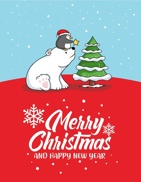 Bär und pinguin frohe weihnachtskarte Premium Vektoren