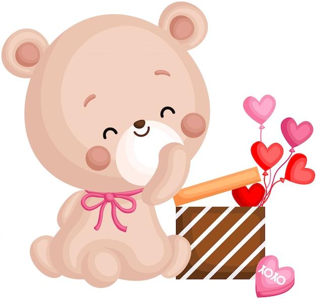Bär und valentinstag geschenk Premium Vektoren