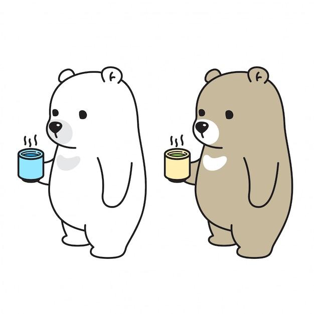 Bär vektor eisbär trinken tee kaffee wasser Premium Vektoren