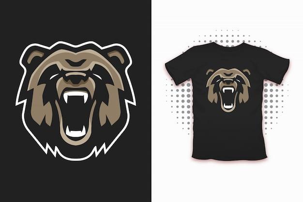 Bärendruck für t-shirt design Premium Vektoren