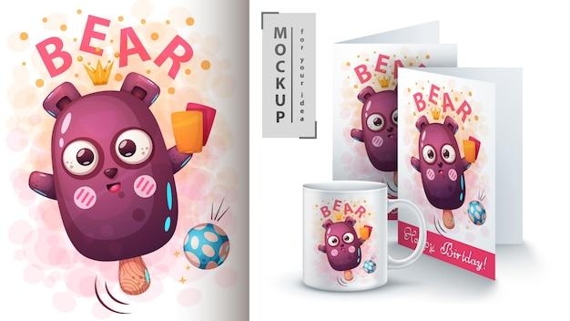Bäreneisposter und merchandising Premium Vektoren