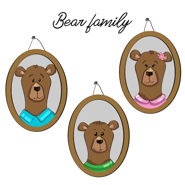 Bärenfamilie Premium Vektoren