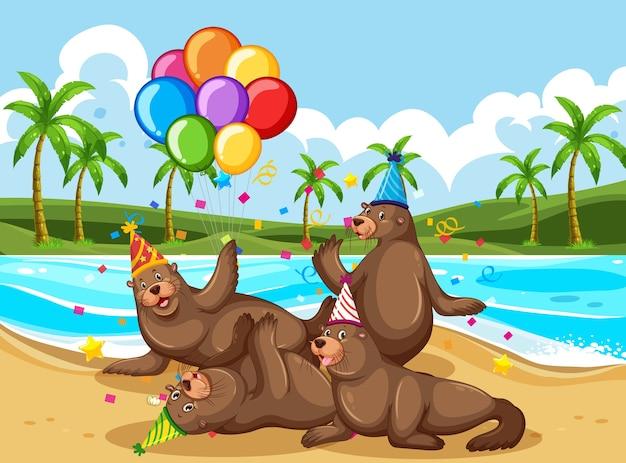 Bärengruppe in der partythema-zeichentrickfigur am strand Kostenlosen Vektoren