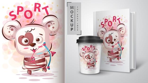 Bärenliebe sportposter und merchandising Premium Vektoren
