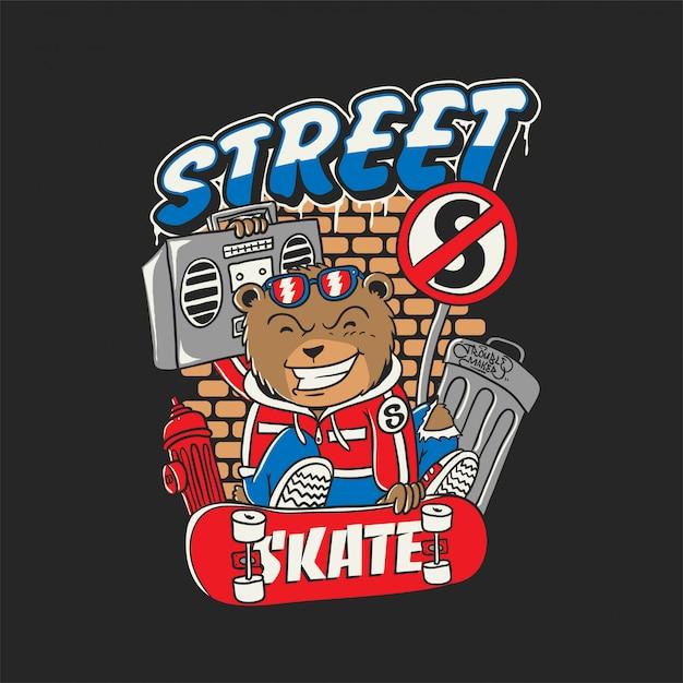 Bärn-straßen-skateboard Premium Vektoren