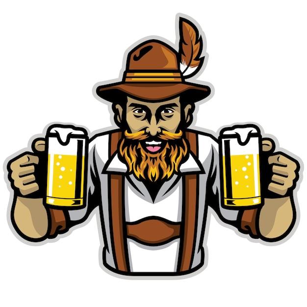 Bärtiger bayerischer mann, der ein paar bierpintglas hält Premium Vektoren