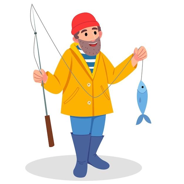 Bärtiger fischercharakter. mann im gelben regenmantel. ein mann mit bart fing einen großen fisch. Premium Vektoren