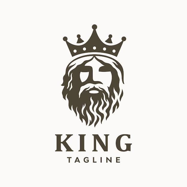 Bärtiger könig des griechischen alten mannes mit kronenlogo. Premium Vektoren
