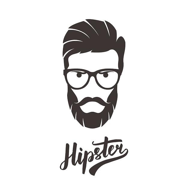 Bärtiges mannporträt der hippie-mode in den gläsern. Premium Vektoren