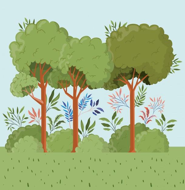 Bäume und blätter mit buschlandschaftsszene Kostenlosen Vektoren