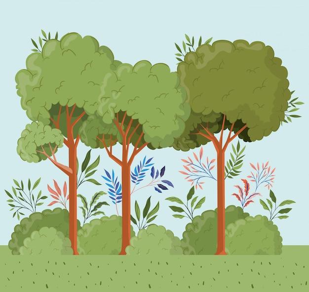 bäume und blätter mit buschlandschaftsszene  kostenlose