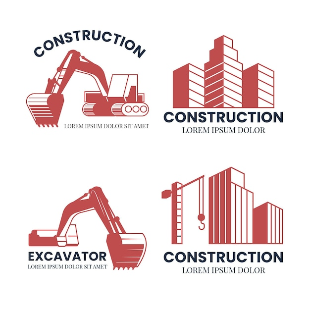 Baggerkonstruktionslogo-konzept Kostenlosen Vektoren