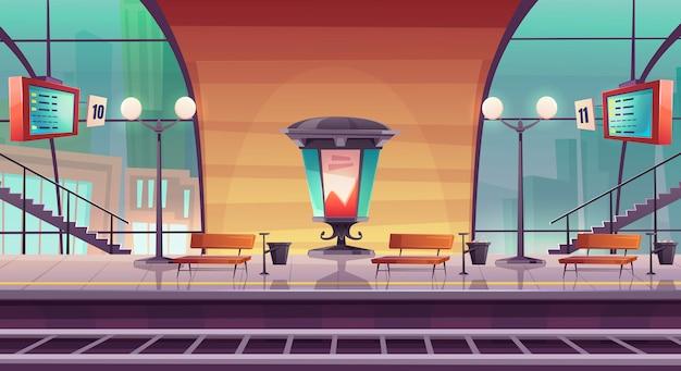 Bahnhof, leerer bahnsteig für zug Kostenlosen Vektoren