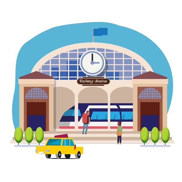 Bahnhof oder bahnhof Premium Vektoren