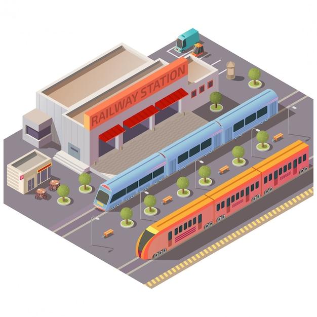 Bahnhofsäußerer lokalisierter isometrischer vektor Kostenlosen Vektoren
