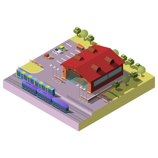Bahnhofsgebäude der stadt isometrisch Kostenlosen Vektoren