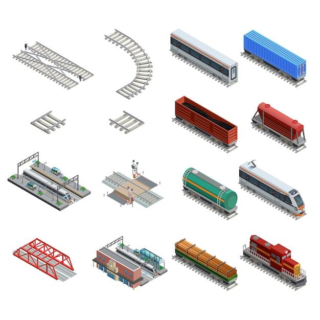 Bahnstation-element-ikonen eingestellt Kostenlosen Vektoren