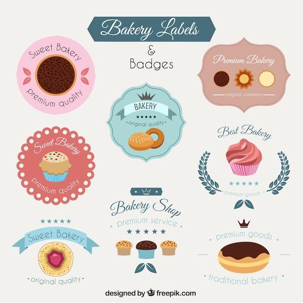 Bakery etiketten packen Kostenlosen Vektoren