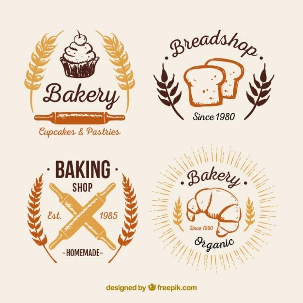 Bakery vintage logos pack Kostenlosen Vektoren