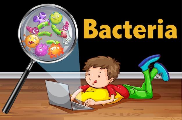 Bakterien auf computer laptop Kostenlosen Vektoren