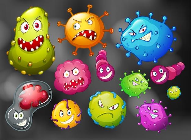 Bakterien und keime auf schwarzem hintergrund Premium Vektoren