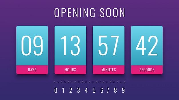Bald öffnen illustration mit countdown clock counter timer Premium Vektoren