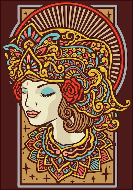 Bali-tänzer ethnic costume illustration Premium Vektoren