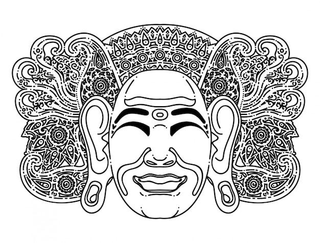 Balinesische traditionelle masken-einfache illustration Premium Vektoren