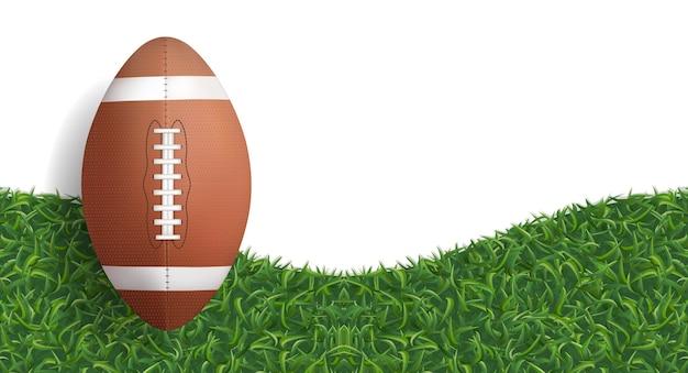 Ball des amerikanischen fußballs auf grünem gras. Premium Vektoren