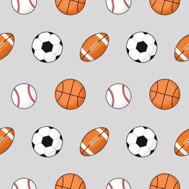 Ball nahtlose muster fußball, basketball, fußball auf grau. Premium Vektoren