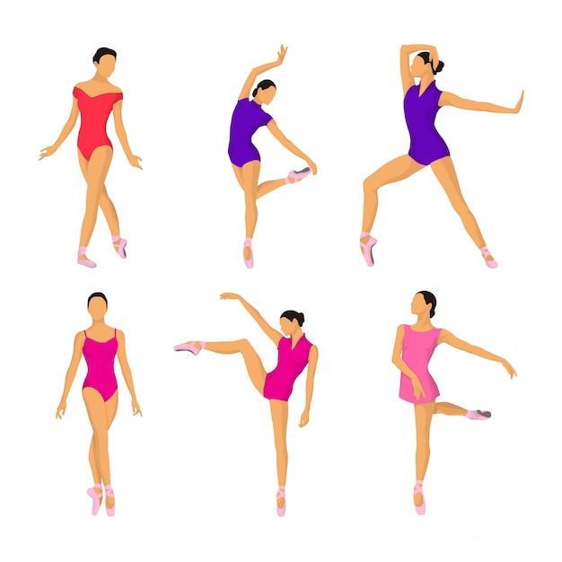 Ballerina-haltungs-vektor-sammlung Premium Vektoren