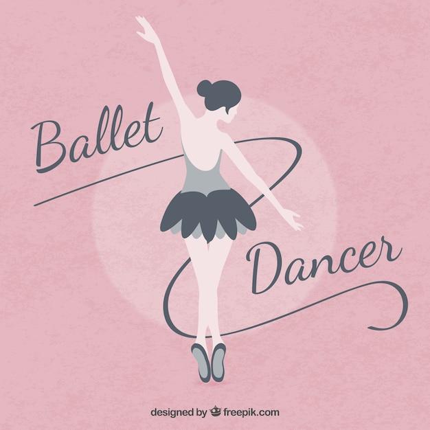 Ballett ballerina auf einem rosa hintergrund in flaches design Kostenlosen Vektoren